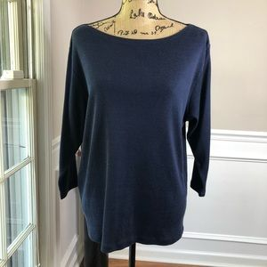 L Lord and Taylor Navy boat neck 3/4 Blouse